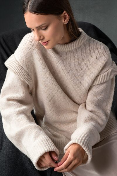 Cream Padded Shoulders Knit