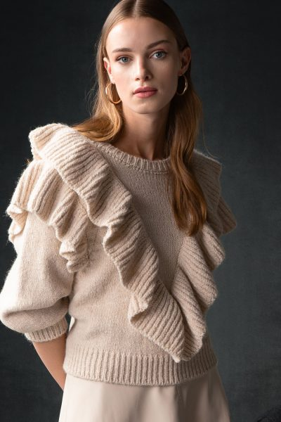 Ruffled College Sweater – Cream