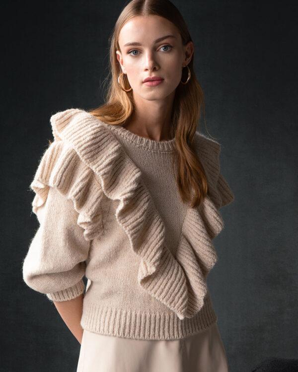 Ruffled College Sweater – Cream