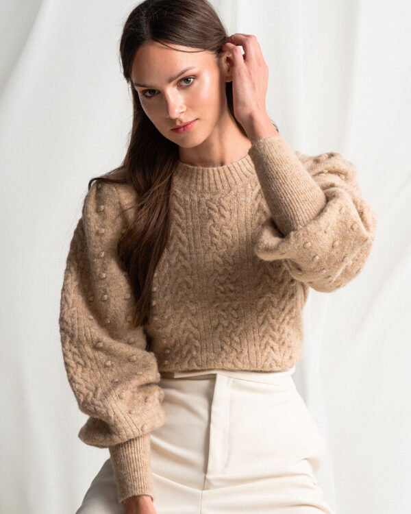 Caramel Braided Pom Pom Sweater
