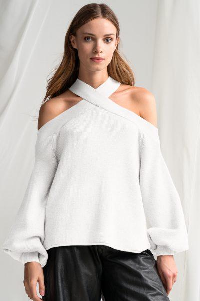 Off Shoulder White Knit