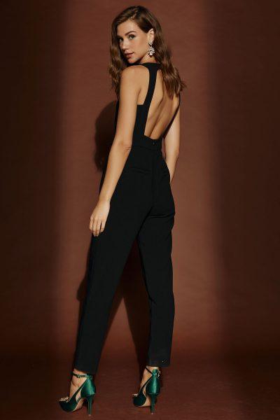 Backless Jumpsuit – White – Black