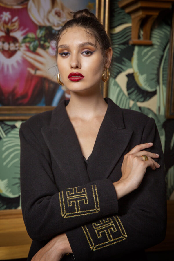 Olympia Embroidered Coat – Black