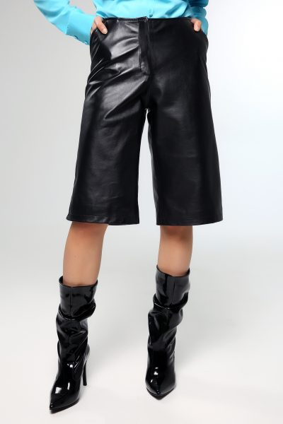 Leather Zip Culotte – Black