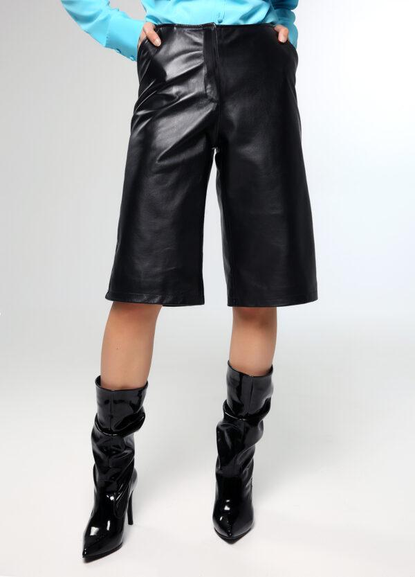 Leather Zip Culotte – Black