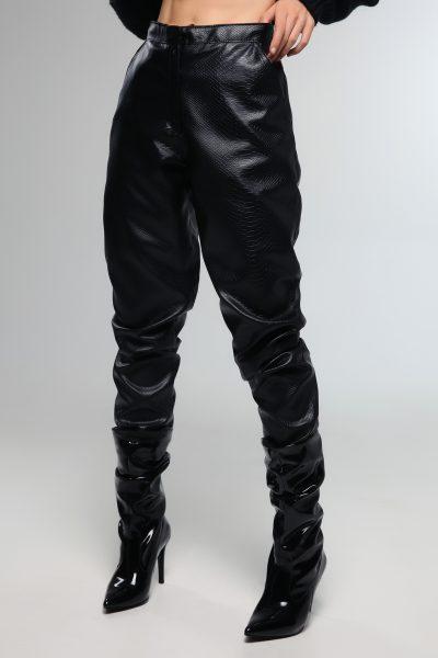 Croco Leather Pants