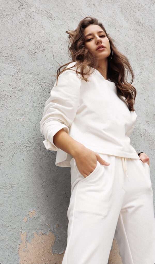 Sweater Jogger Pants – White