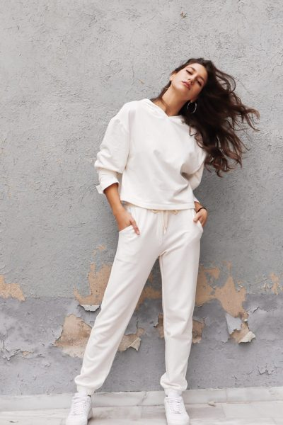 Sweater Jogger Pants – White