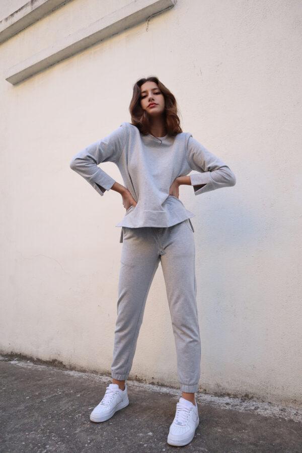Padded Sweatshirt – White – Black – Grey