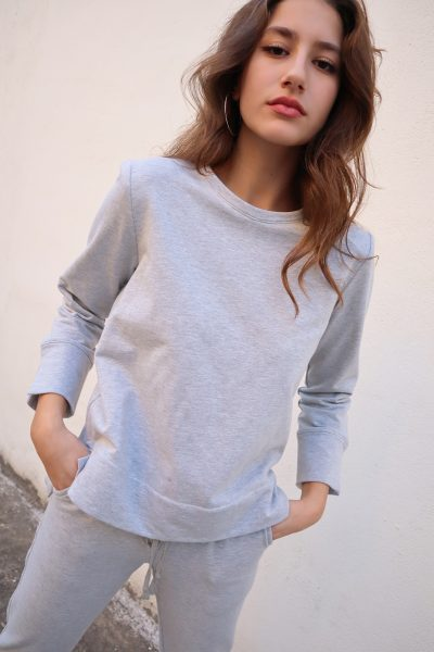 Padded Sweatshirt – White – Black – Grey