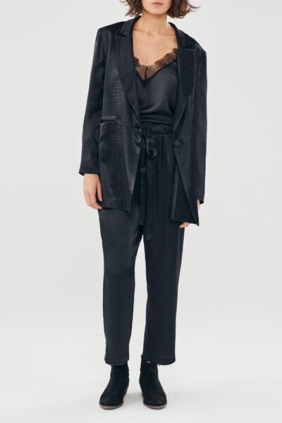 Silky Pyjama Pants – Black – Blue