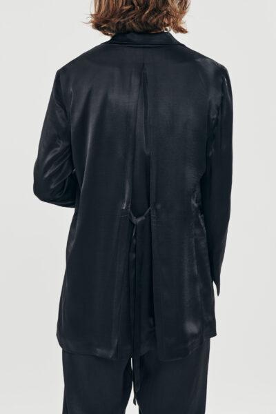Silky Blazer – Black – Blue