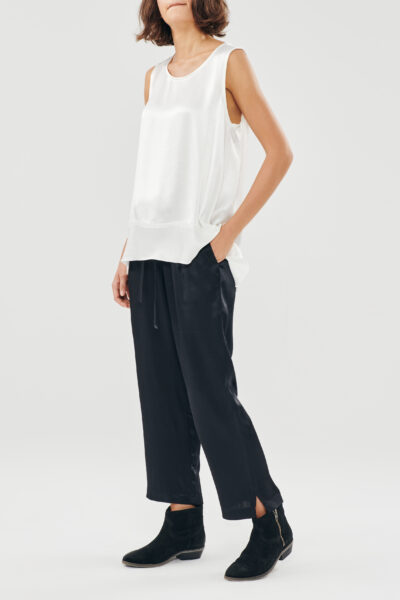 Silky Pyjama Pants – Black – Blue