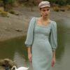 Knit Balloon Sleeves Dress – Mint – Grey