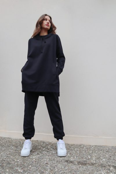Long Hoodie – Grey – Black