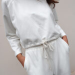 Cropped Sweatshirt – White – Black – Grey
