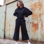 Sweater Cropped Pants – Black