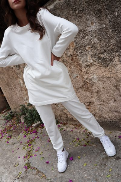 Padded Long Sweatshirt – White – Black