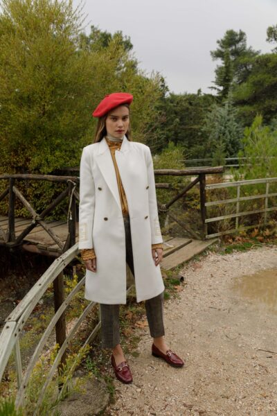 Olympia Embroidered Coat – White