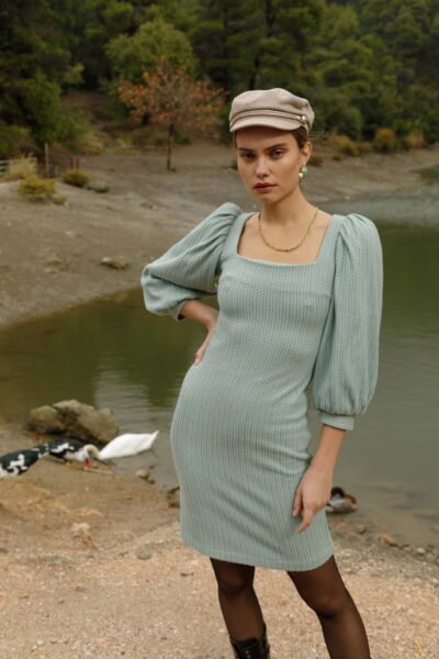 Knit Balloon Sleeves Dress – Mint – Grey