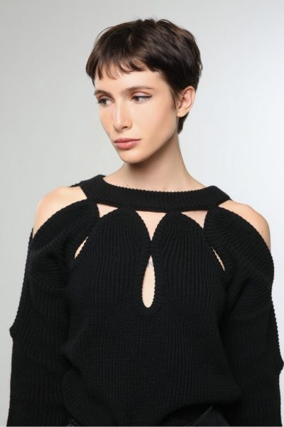 Tears Knitted Top – Black