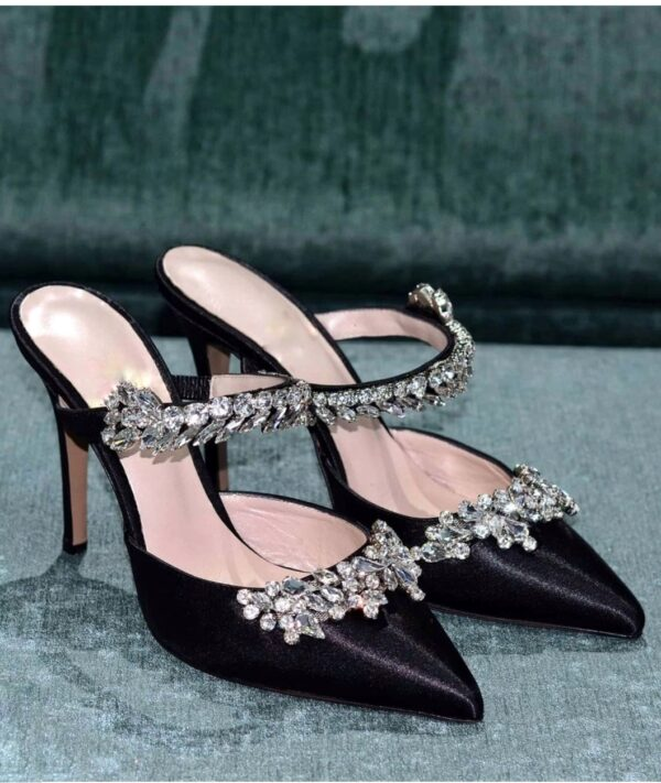 Manolo Mules – Black Satin