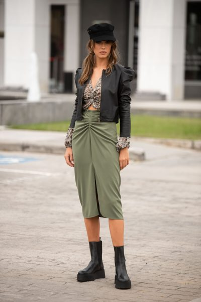 Midi Skirt – Khaki – Black