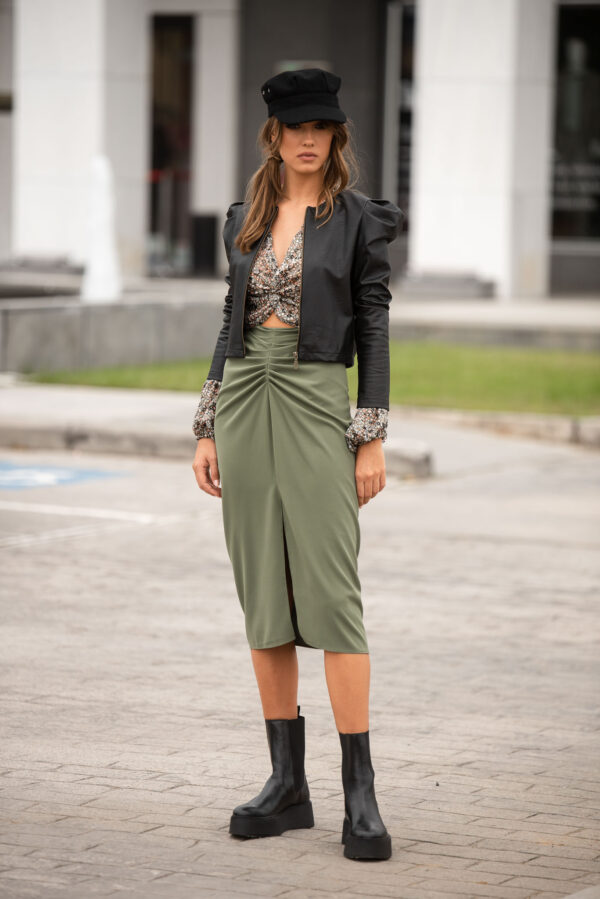 Midi Skirt – Khaki – Black