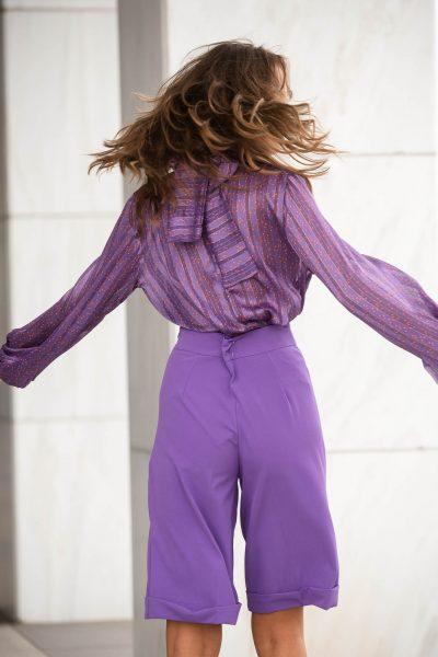 Printed Turtleneck Cami Top – Purple