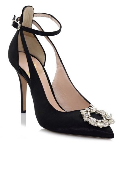Jeweled Pumps – Satin Black