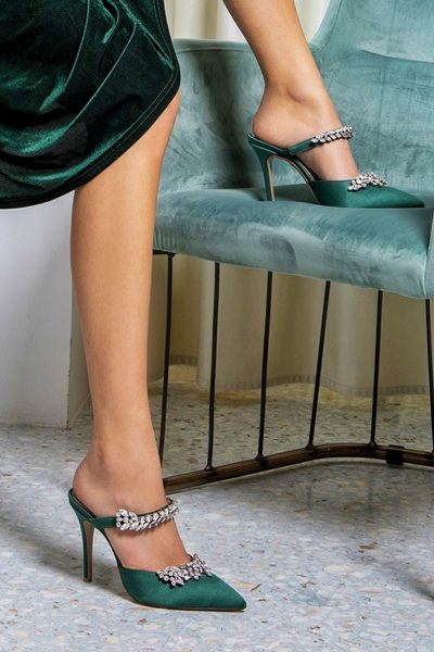 Manolo Mules – Green Satin