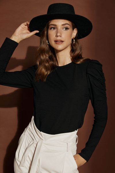 Padded Shoulders Top – Black