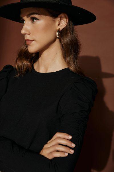 Padded Shoulders Top – Black