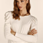 Padded Shoulders Top – White