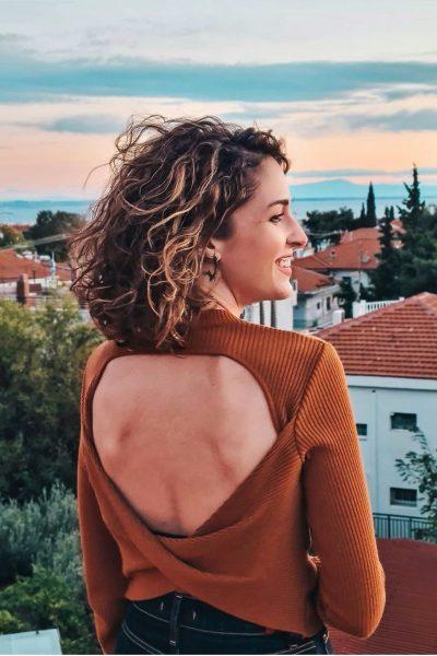 Open Back Knit Top – Cinnamon