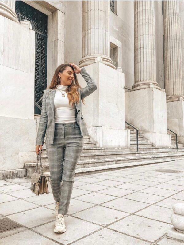 Grey Plaid Suit Blazer