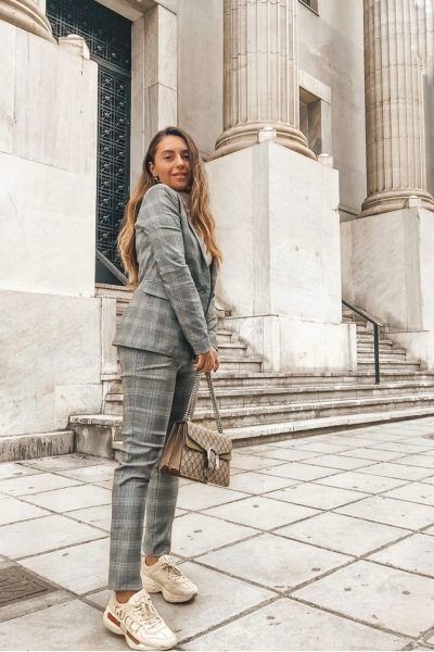 Grey Plaid Suit Blazer