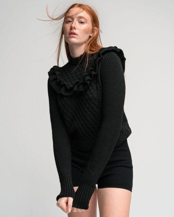 Ruffled Zakar Knit – Black