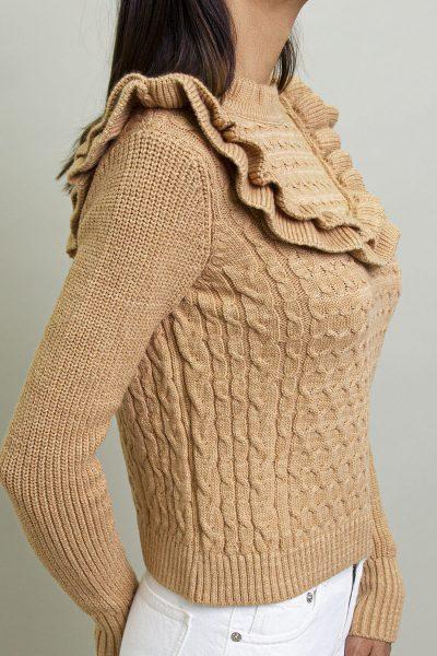 Ruffled Zakar Knit – Beige