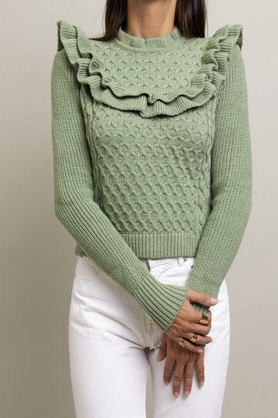 Ruffled Zakar Knit – Mint