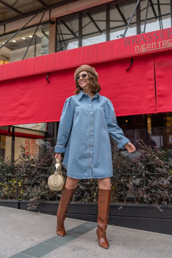 Oversized Light Denim Shirtdress