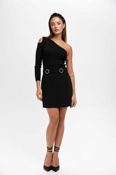 Jeweled Mini Black Skirt